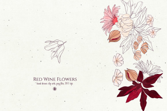 Red Wine Flowers Graphic By webvilla Image 3