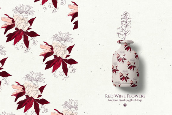 Red Wine Flowers Graphic By webvilla Image 4