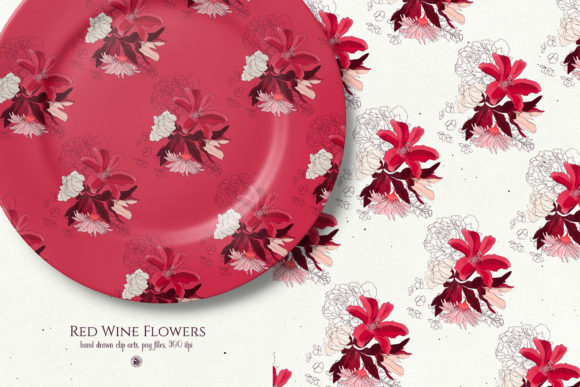Red Wine Flowers Graphic By webvilla Image 5