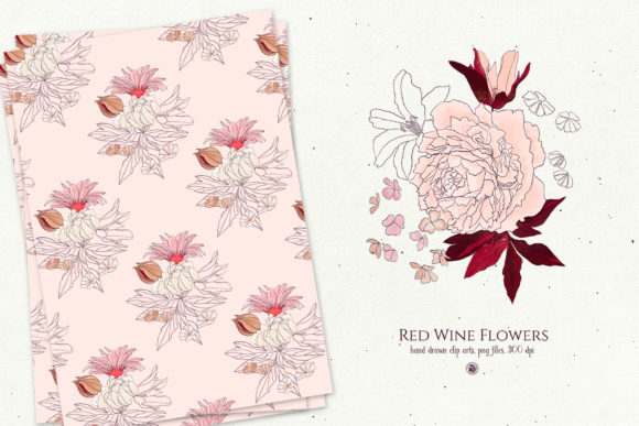Red Wine Flowers Graphic By webvilla Image 6