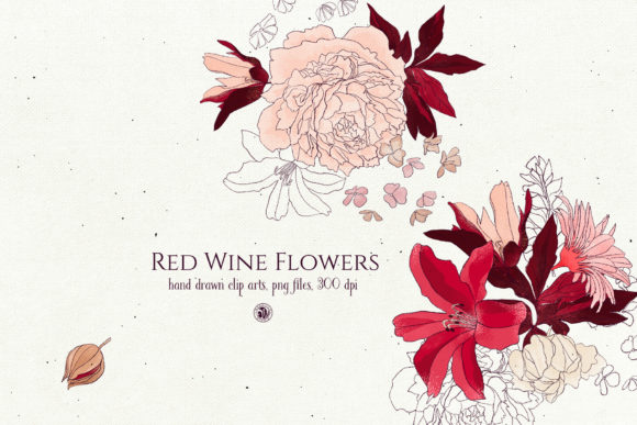Red Wine Flowers Graphic Illustrations By webvilla