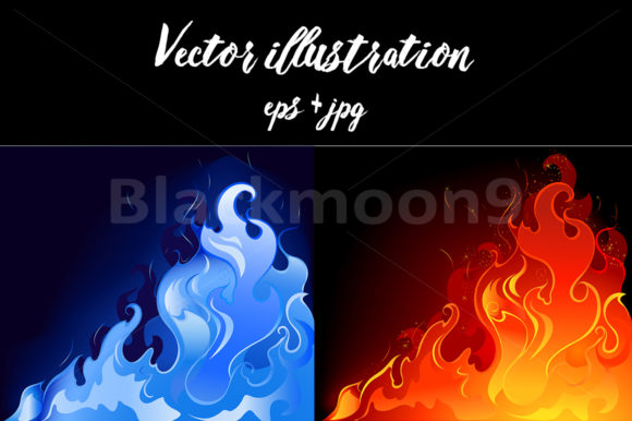 Red and Blue Flames Graphic Illustrations By Blackmoon9