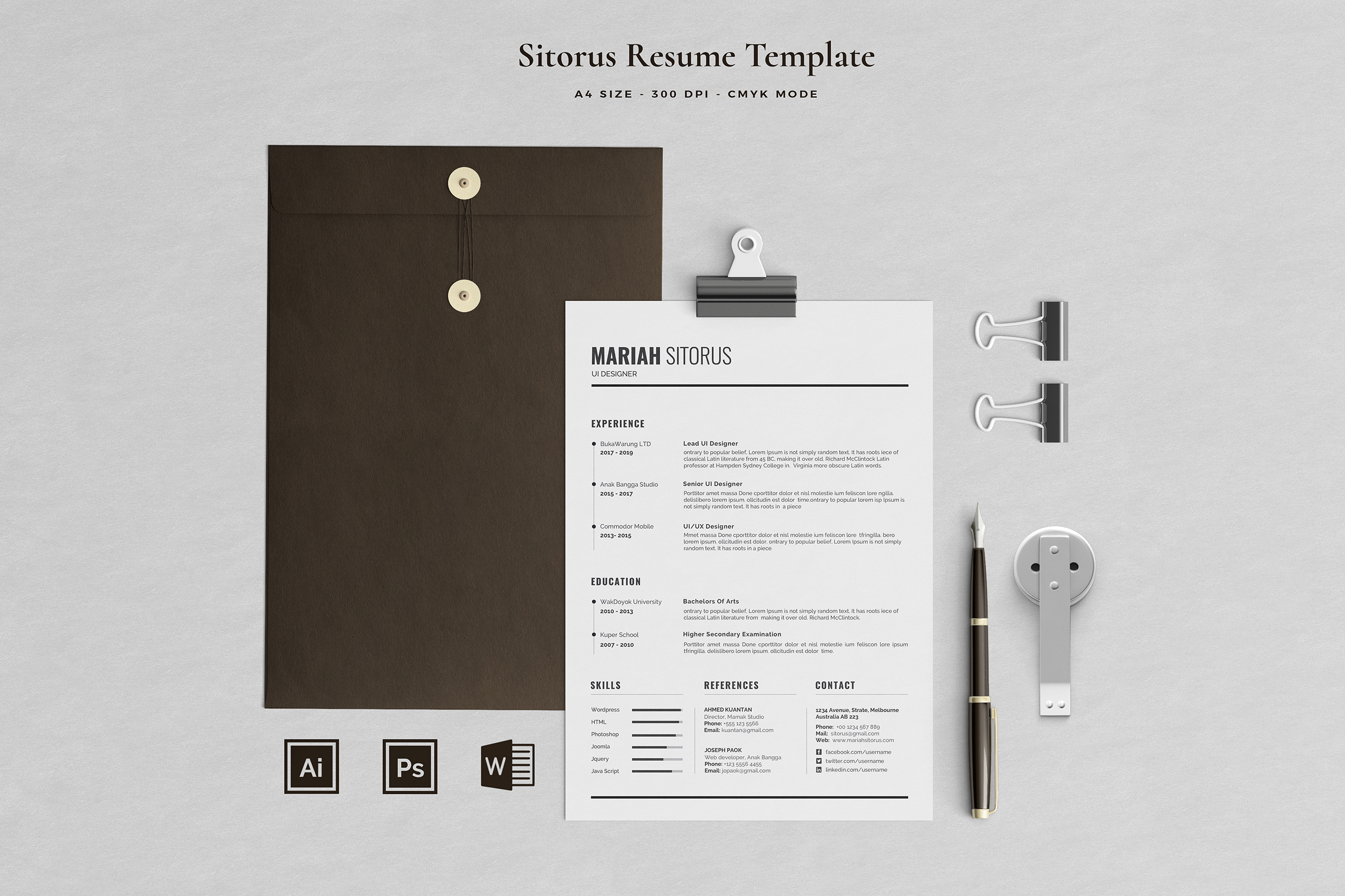 Resume Template 2 Pages   Sitorus