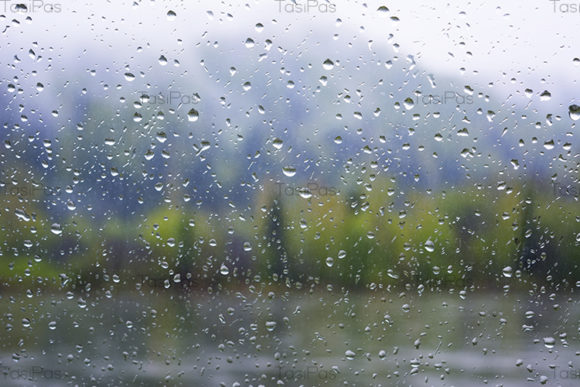 Print on Demand: River View Through Window in Rainy Day Graphic Nature By TasiPas
