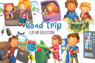 Print on Demand: Road Trip Clip Art Collection Graphic Illustrations By Keepinitkawaiidesign