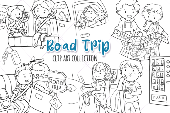 Print on Demand: Road Trip Digital Stamps Graphic Illustrations By Keepinitkawaiidesign