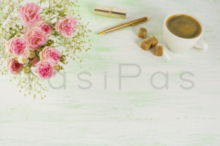 Roses and Coffee Styled Background Graphic By TasiPas