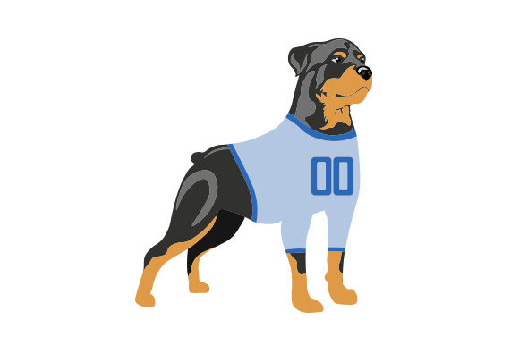 Rottweiler in Football Jersey Dogs Craft Cut File By Creative Fabrica Crafts - Image 1