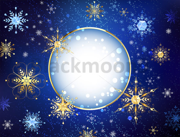 Round Banner with Gold Snowflakes Graphic Illustrations By Blackmoon9