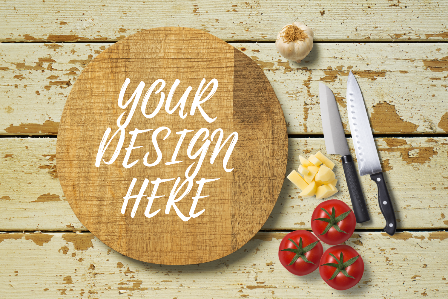 Download Free Round Chopping Board Mock Up Graphic By Mockup Venue Creative for Cricut Explore, Silhouette and other cutting machines.