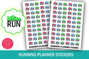 Running Planner Stickers-Fitness Tracker Graphic By Happy Printables Club