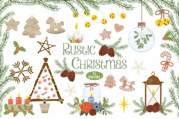 Download Free Rustic Christmas Clipart Graphic By Tl Digital Creative Fabrica for Cricut Explore, Silhouette and other cutting machines.