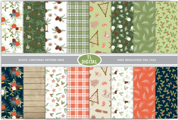 Download Free Rustic Christmas Paper Pack 16 Patterns Graphic By Tl Digital for Cricut Explore, Silhouette and other cutting machines.