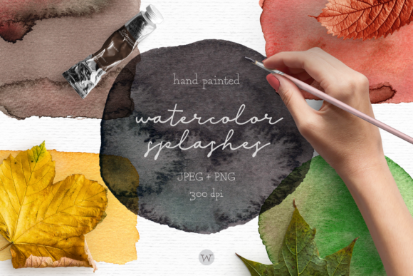 Print on Demand: Rustic Fall Watercolor Splashes Clipart Graphic Illustrations By Wallifyer