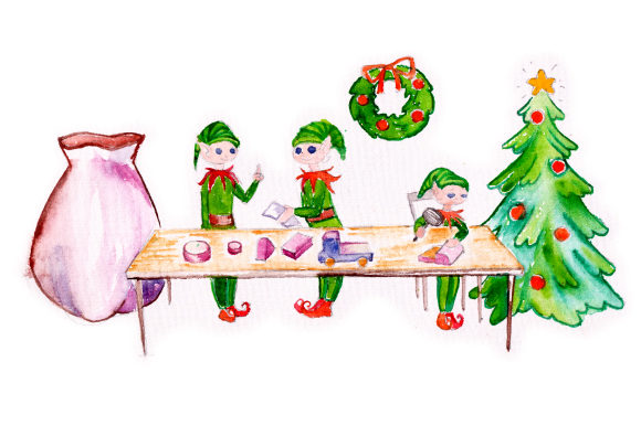 Download Free Santa S Elves Working In A Workshop In Watercolor Svg Cut File for Cricut Explore, Silhouette and other cutting machines.
