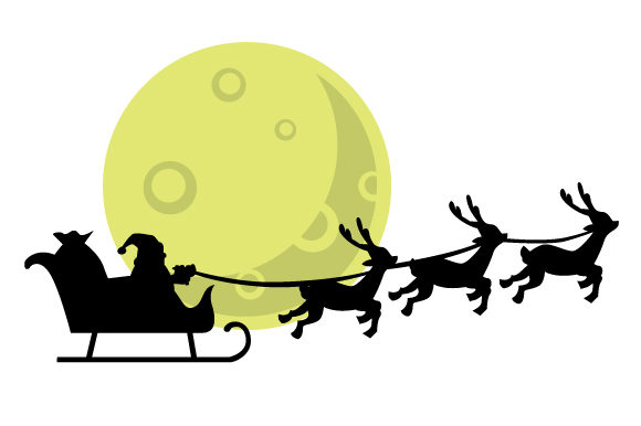 Download Free Santa Sleigh Silhouette In Front Of Full Moon Svg Cut File By for Cricut Explore, Silhouette and other cutting machines.