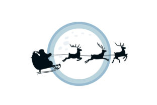 Santa Sleigh Silhouette in Front of Full Moon Craft Design By Creative Fabrica Crafts