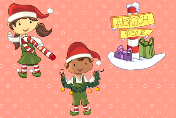 Download Free Santa S Workshop Clip Art Collection Graphic By for Cricut Explore, Silhouette and other cutting machines.