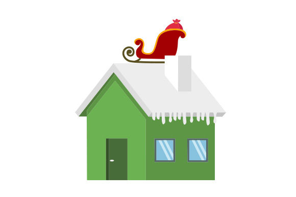 Download Free Santa S Sleigh On Roof House Svg Cut File By Creative Fabrica for Cricut Explore, Silhouette and other cutting machines.
