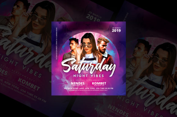 Saturday Night Vibes Party Flyer Graphic Print Templates By qohhaarqhaz