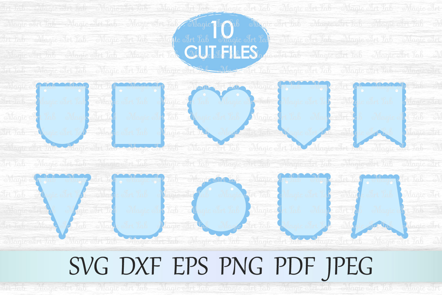 Download Free Scalloped Banners Graphic By Magicartlab Creative Fabrica for Cricut Explore, Silhouette and other cutting machines.