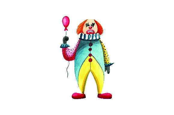 Scary Clown In Watercolor Halloween Svg Cut File By Creative