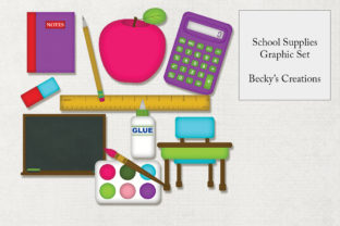 School Supplies Graphic Set Graphic By Becky's Creations