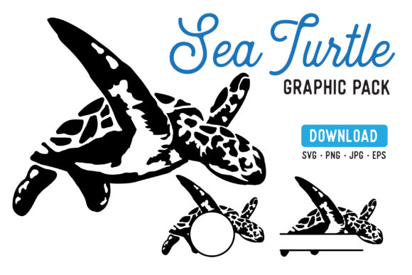 Print on Demand: Sea Turtle Stencil Graphic Pack Graphic Illustrations By The Gradient Fox