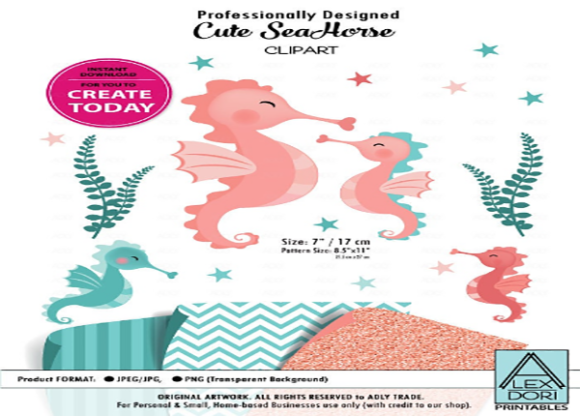 Print on Demand: Seahorse Clip Art,baby Mommy,teal Coral Graphic Illustrations By adlydigital