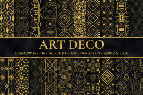 Seamless Black & Gold Art Deco Patterns Graphic Patterns By CatJello Graphics