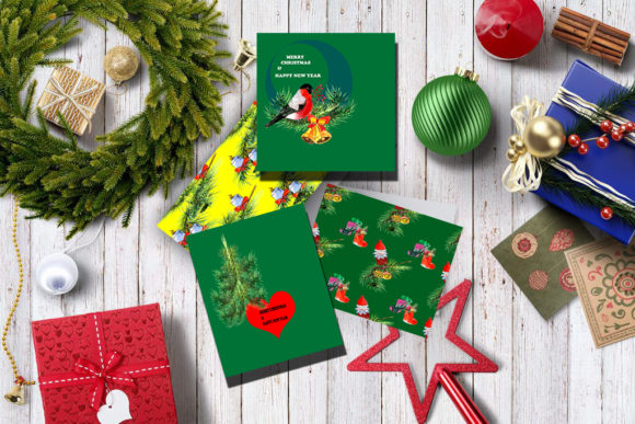 Download Free Set Of 6 Christmas Cards Graphic By Kakva Creative Fabrica for Cricut Explore, Silhouette and other cutting machines.