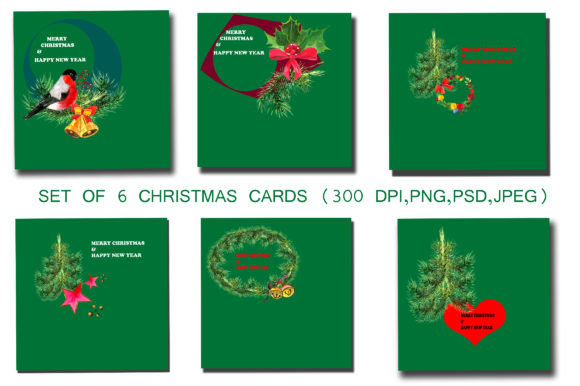 Print on Demand: Set of 6 Christmas Cards Graphic Objects By kakva