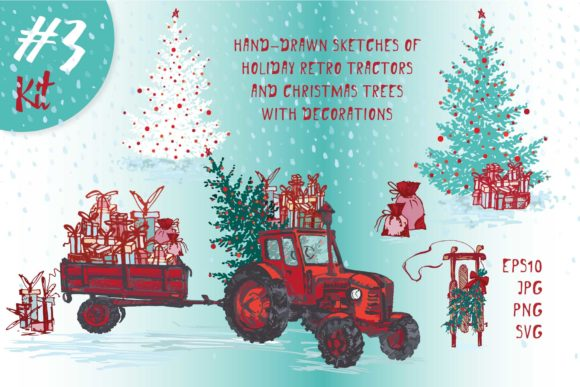 Download Free Set Of Hand Drawn Christmas Tractors Graphic By Z Zajka for Cricut Explore, Silhouette and other cutting machines.