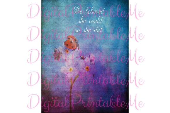 She Believed Inspirational SignPoster Graphic By DigitalPrintableMe