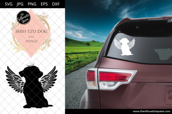 Download Free Shih Tzu Dog 4 With Wings Graphic By Thesilhouettequeenshop for Cricut Explore, Silhouette and other cutting machines.