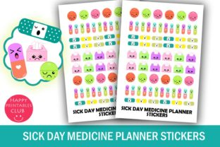 Download Free Sick Day Unwell Planner Stickers Graphic By Happy Printables for Cricut Explore, Silhouette and other cutting machines.