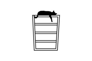 Silhouette of Cat Laying on Book Shelf with Paw Hanging Down Craft Design By Creative Fabrica Crafts