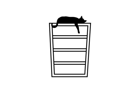 Download Free Silhouette Of Cat Laying On Book Shelf With Paw Hanging Down Svg for Cricut Explore, Silhouette and other cutting machines.