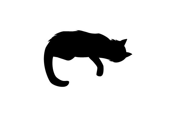 Download Free Silhouette Of Cat Laying On Down With Paw Hanging Down Svg Cut for Cricut Explore, Silhouette and other cutting machines.