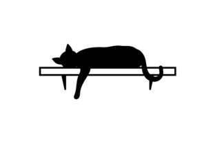 Silhouette of Cat Laying on Shelf with Paw Hanging Down Craft Design By Creative Fabrica Crafts