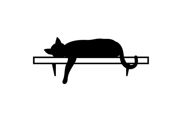 Download Free Silhouette Of Cat Laying On Shelf With Paw Hanging Down Svg Cut for Cricut Explore, Silhouette and other cutting machines.