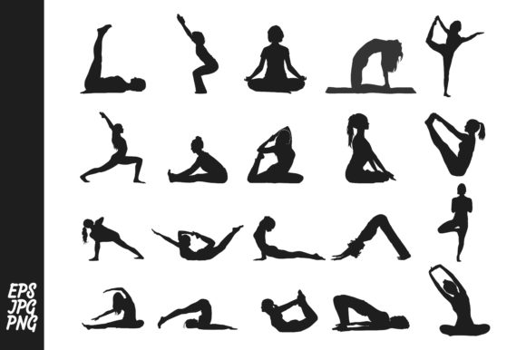 Print on Demand: Silhouette of Yoga Meditation Bundle Graphic Illustrations By Arief Sapta Adjie