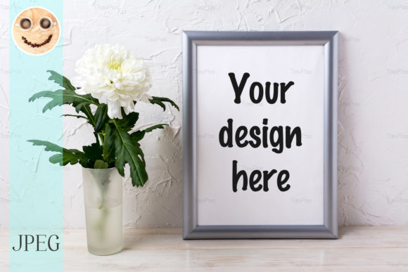 Print on Demand: Silver Frame Mockup with Chrysanthemum Graphic Product Mockups By TasiPas