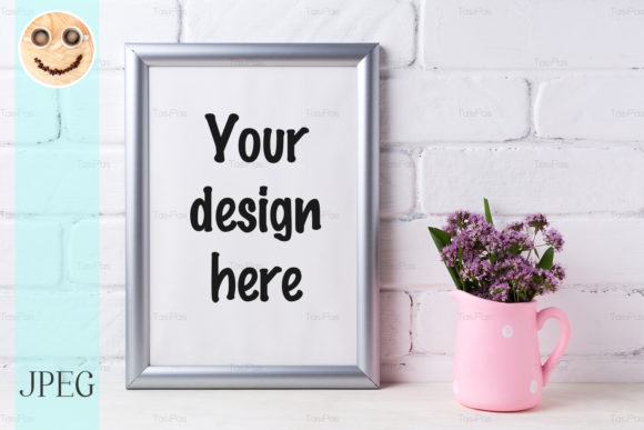 Print on Demand: Silver Frame Mockup with Purple Flowers Graphic Product Mockups By TasiPas