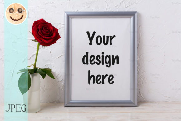Print on Demand: Silver Frame Mockup with Red Rose Graphic Product Mockups By TasiPas