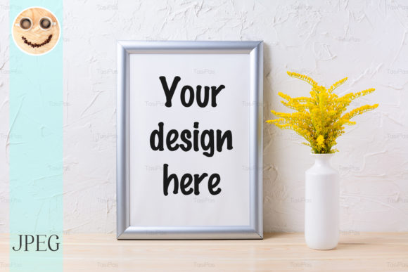 Print on Demand: Silver Frame Mockup with Yellow Flowerin Graphic Product Mockups By TasiPas