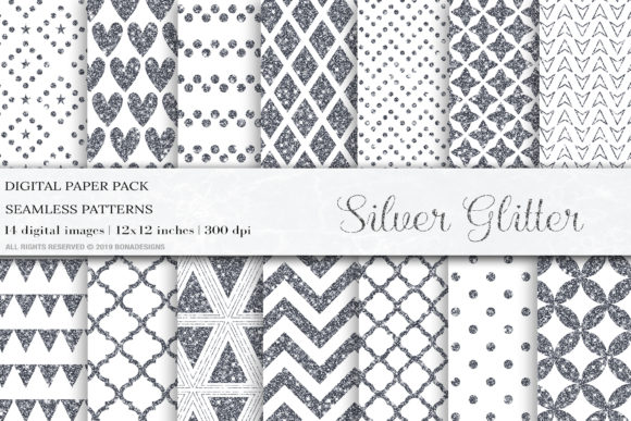 Silver Glitter Digital Papers, Pattern Graphic Patterns By BonaDesigns