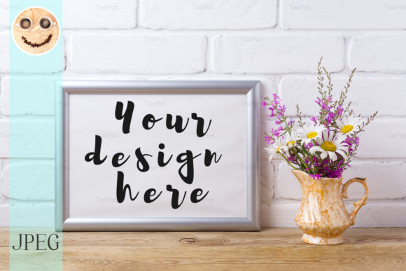 Print on Demand: Silver Landscape Frame Mockup Graphic Product Mockups By TasiPas
