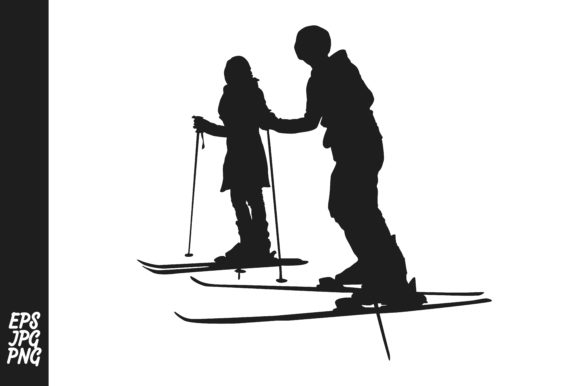 Download Free Skier Silhouette Couple Graphic By Arief Sapta Adjie Ii for Cricut Explore, Silhouette and other cutting machines.