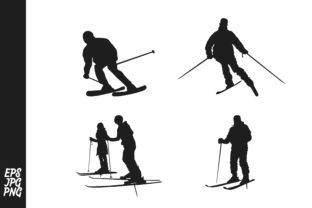 Download Free Skier Silhouette Bundle Graphic By Arief Sapta Adjie Ii for Cricut Explore, Silhouette and other cutting machines.